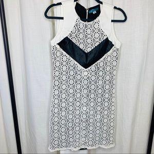 Anthropologie Pim + Larkin Crotchet Leather Dress!